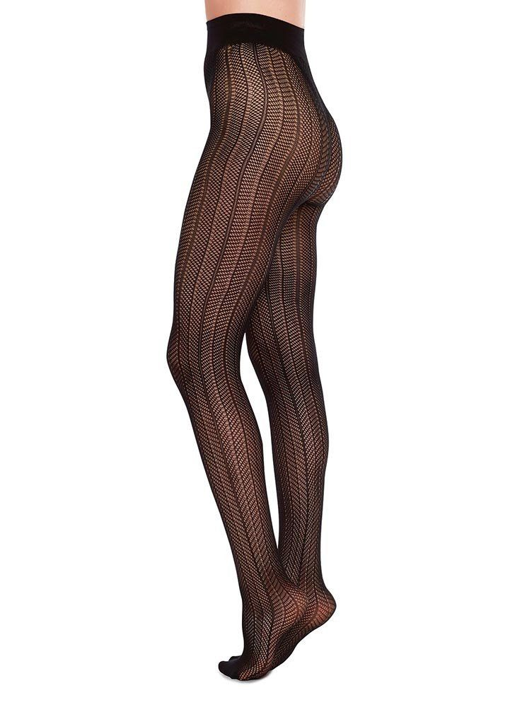ASTRID NET TIGHTS BLACK Patterned Stockings Swedish Stockings S