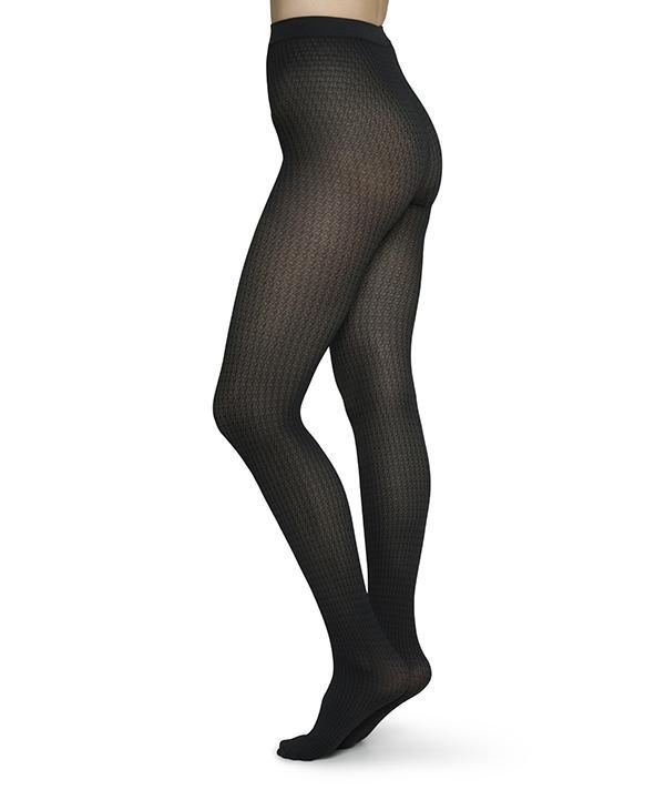AGNES HOUNDSTOOTH TIGHTS BLACK/GREY Tights Swedish Stockings