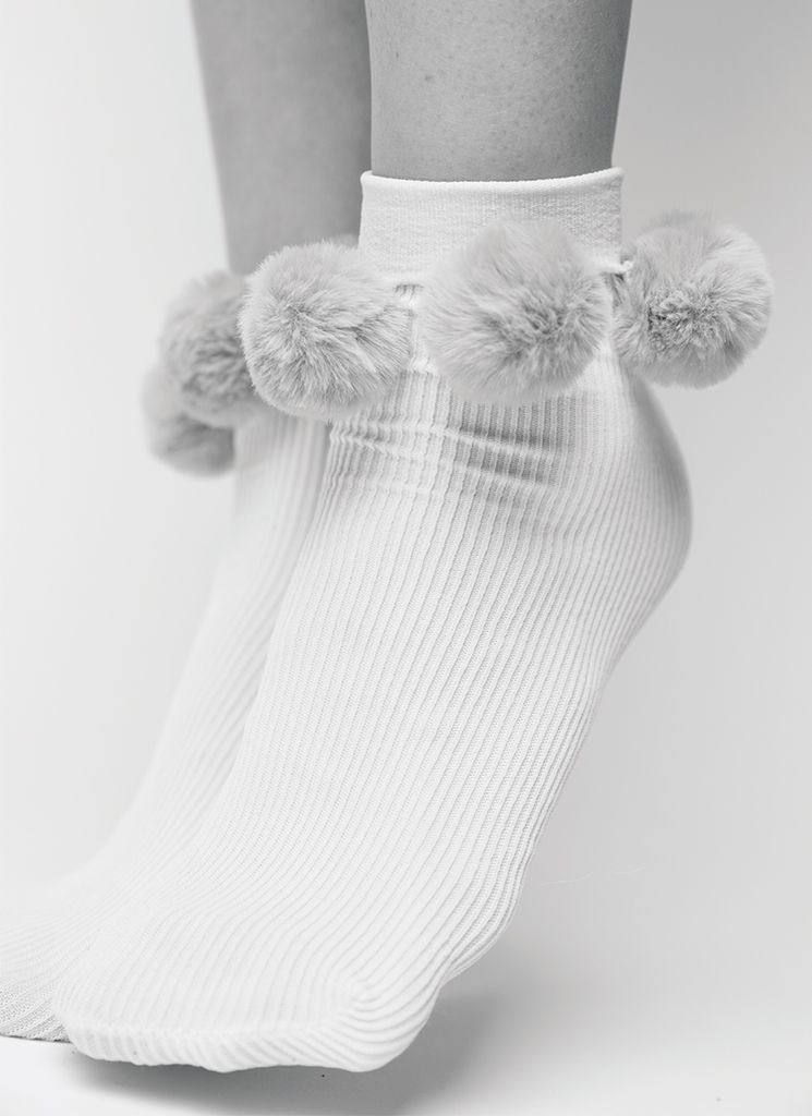 EBBA POM-POM SOCKS IVORY Socks Swedish Stockings