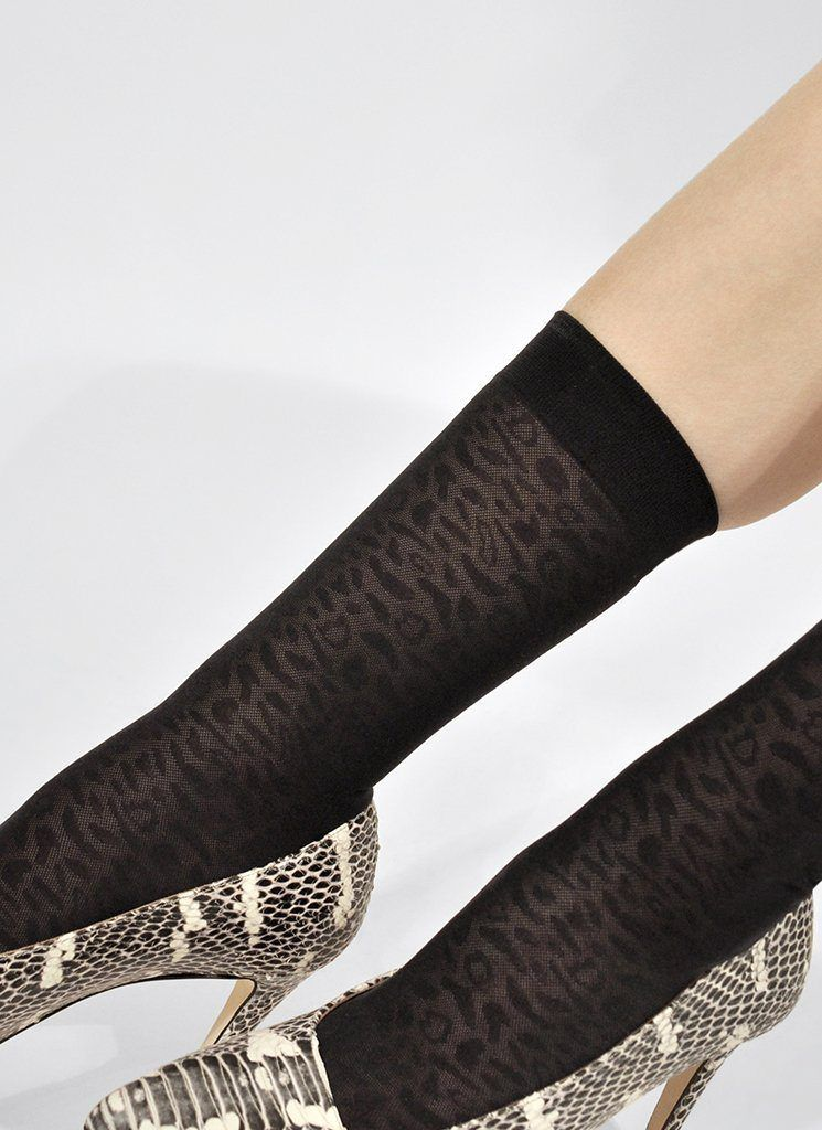 EMMA LEOPARD SOCKS BLACK Socks Swedish Stockings