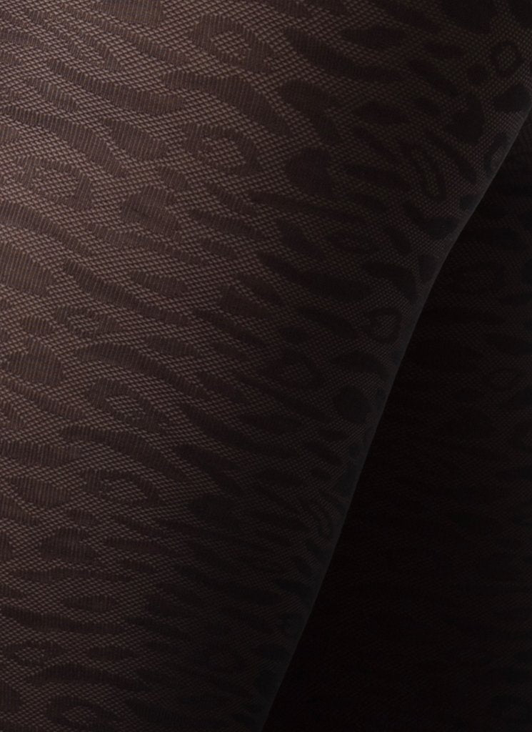 EMMA LEOPARD TIGHTS BLACK Patterned Stockings Swedish Stockings
