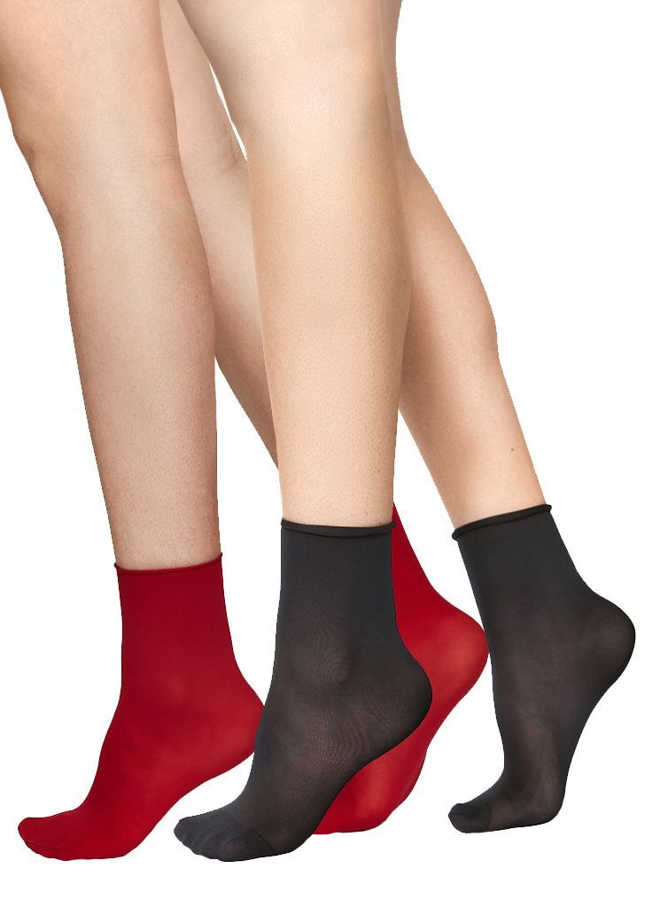 2-PACK JUDITH SOCKS BLACK/RED Socks Swedish Stockings