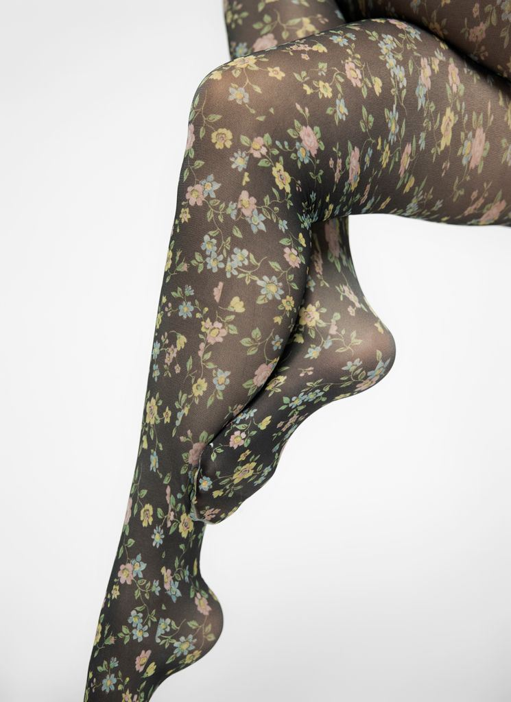ADA FLOWER TIGHTS BLACK/MULTI Tights Swedish Stockings