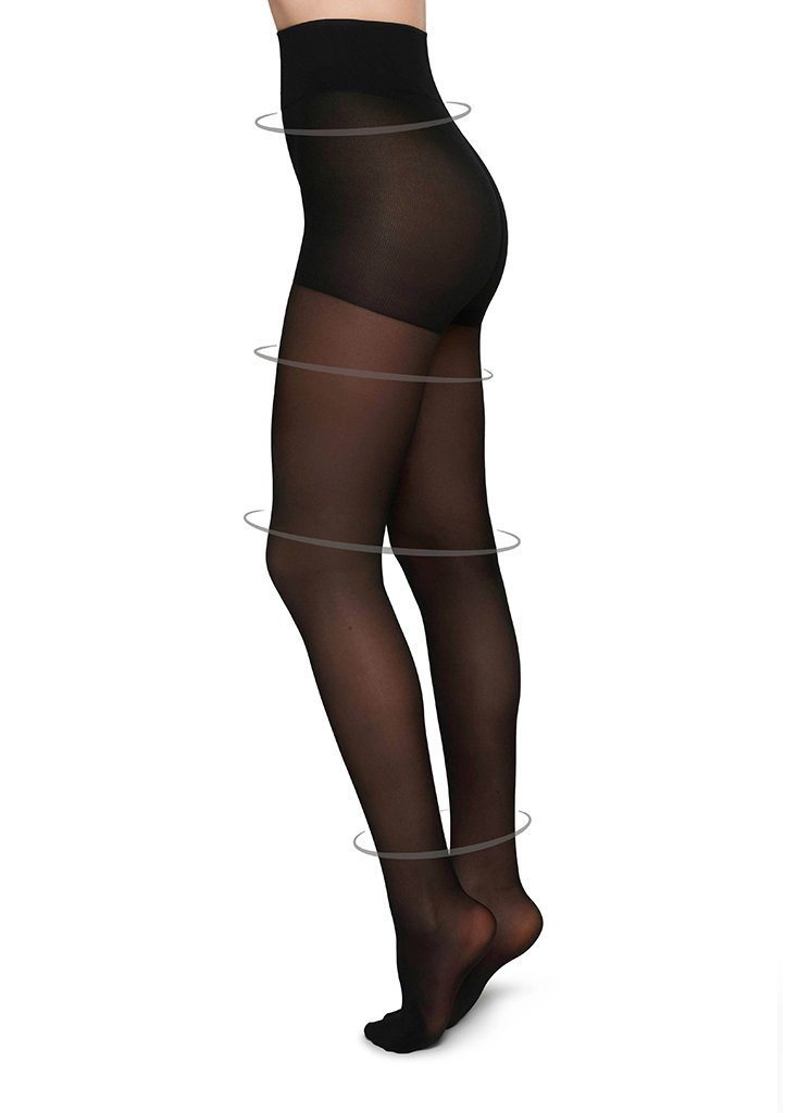 IRMA SUPPORT TIGHTS BLACK Control Top Stockings Swedish Stockings