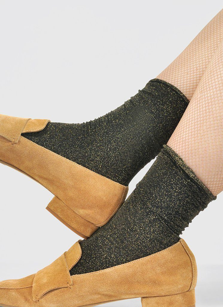 LISA LUREX SOCKS GOLD Socks Swedish Stockings
