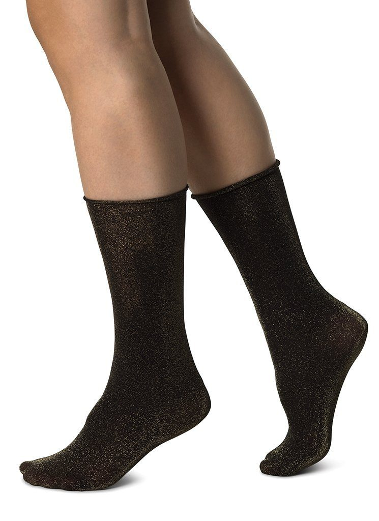 LISA LUREX SOCKS GOLD Socks Swedish Stockings ONE SIZE