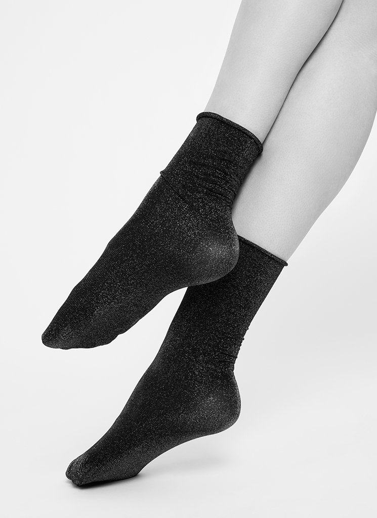 LISA LUREX SOCKS SILVER Socks Swedish Stockings