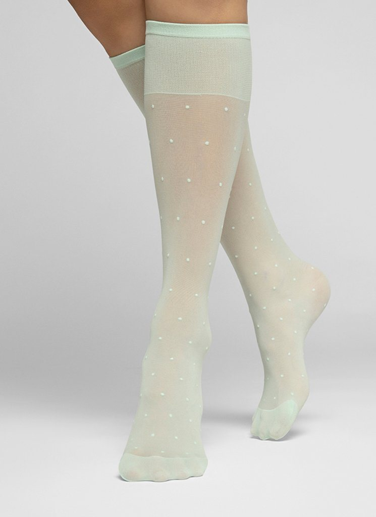 DORIS DOTS KNEE-HIGHS LIGHT GREEN Knee-highs Swedish Stockings