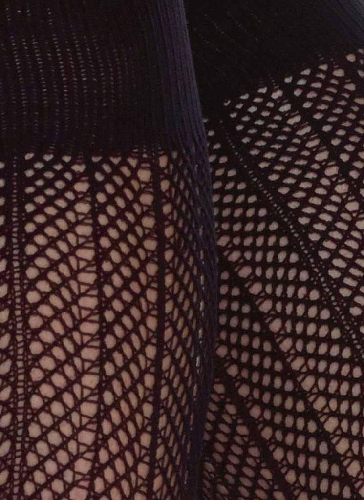 ASTRID NET KNEE-HIGHS BLACK Knee High Stockings Swedish Stockings