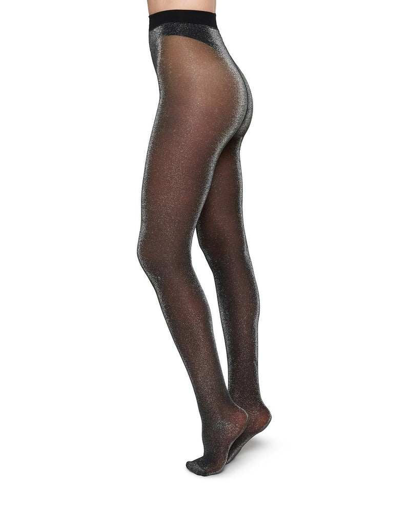 TORA SHIMMERY TIGHTS SILVER Patterned Stockings Swedish Stockings