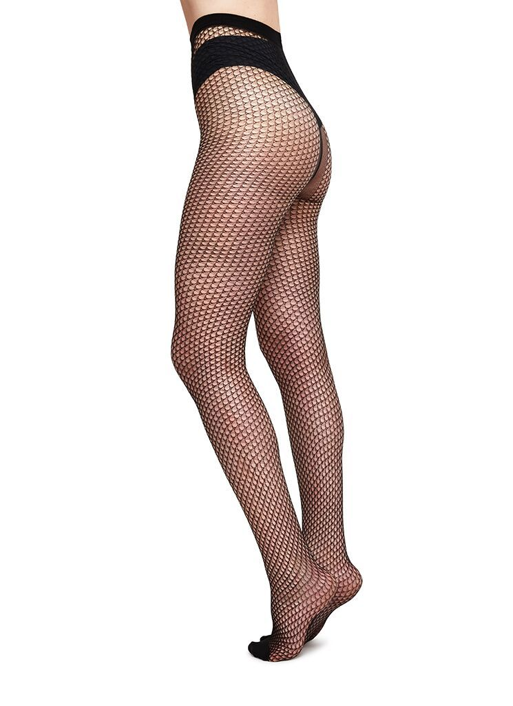 VERA NET TIGHTS BLACK Patterned Stockings Swedish Stockings