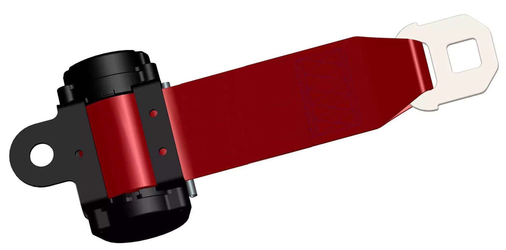 Red Web Retractable Seat Belt for Forklifts, Mounting Hardware Included
