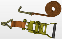 Line Drawing, 50mm Ratchet Strap Assembly