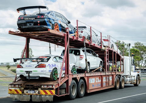 Australian Auto Hauling Trailer with Racecars