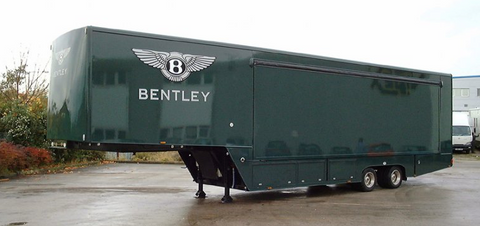 Bentley branded green enclosed auto trailer