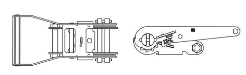 "Line drawing of 2"" ratchet for ratchet strap"