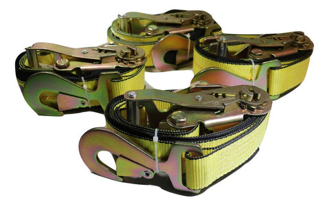 "QTY 4 - 2"" x 8 ft. Axle Wrap Auto Tie Down Ratchet Straps w/ Snap Hooks, YELLOW - ratchetstrap-com.myshopify.com"