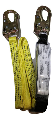 "1"" x 6 ft. Shock-Absorbing Nylon Web Lanyard w/ Double-Locking Snap Hooks - ratchetstrap-com.myshopify.com"
