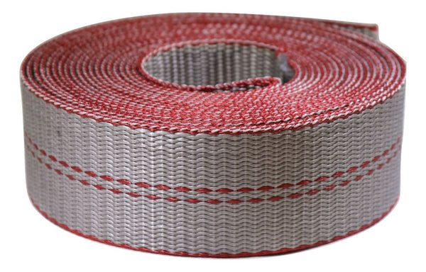 "2"" Heavy Duty Grey Webbing w/ Red Edge Guard - 12,000 lb. MBS - ratchetstrap-com.myshopify.com"