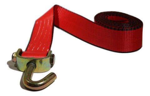 2 X 10 Ft. Red Strap W/ Swivel J Hook Towing
