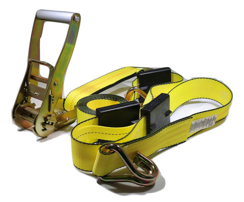 "2"" x 11 ft. Over the Wheel 3-Point Auto Tie Down Strap w/ 3 Hooks & 3 Sliding Cleats - ratchetstrap-com.myshopify.com"