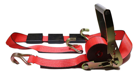 "2"" x 11 Ft. Red 3-Point Ratchet Strap w/Wire Hooks For Auto Hauling - ratchetstrap-com.myshopify.com"