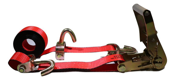 "2"" x 11 ft Red 3-Point Ratchet Wheel Strap Swivel J Hooks Swivel J Idler Hook RatchetStrap.com"