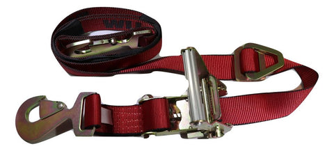 "2"" x 8 ft. Axle Wrap Auto Tie Down Ratchet Strap w/ Snap Hooks, RED RatchetStrap.com"