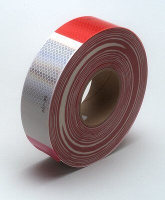 "2"" Conspicuity Tape 11"" Red / 7"" White 3M™ Diamond Grade™ - ratchetstrap-com.myshopify.com"