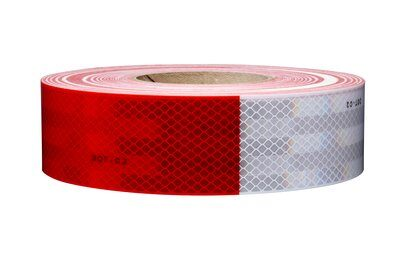 "2"" Kiss Cut Roll Conspicuity Tape 11"" Red / 7"" White 3M™ Diamond Grade™ - ratchetstrap-com.myshopify.com"