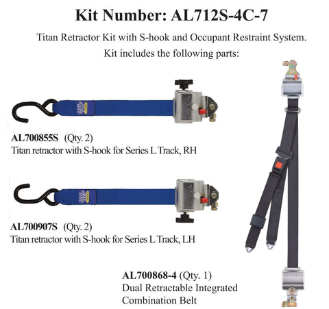 TITAN700 Retractor Kit with Occupant Restraint | AL712S-4C-7 - wheelchairstrap.com
