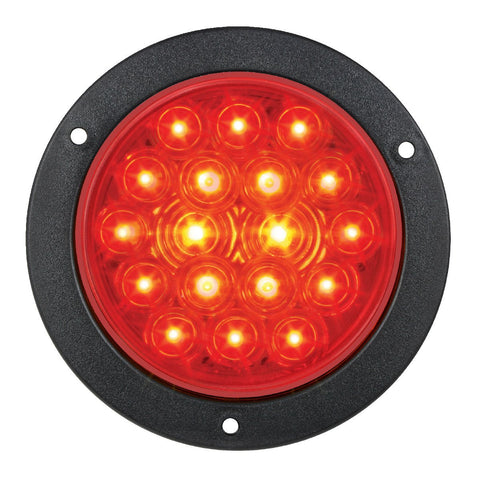 "4"" Round Stop Turn Tail 18 LED Sealed Light w/Flange - RED"