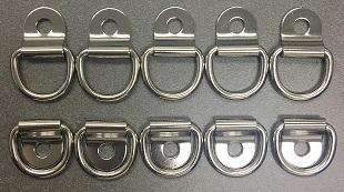 QTY 10 - Marine Boat 316 Stainless Steel D Ring Pad Eye D-Ring 1/8'' Pin Hole - ratchetstrap-com.myshopify.com