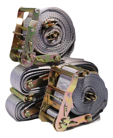 "Qty (4) - 2""x 16 ft. Logistic Van Ratchet E-Track Straps w/ Spring E Fittings"