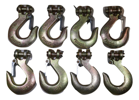 "QTY 8 Clevis Slip Hook 5/16"" with Latch - Grade 70 - ratchetstrap-com.myshopify.com"