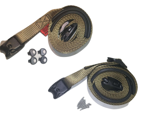 2 pc Wind Strap Kit Hot Tub Secure ACW Loc Spa Hurricane Tie Down 12 Ft - Olive