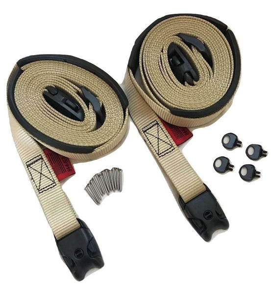 2 pc Wind Strap Kit Hot Tub Secure ACW Loc Spa Hurricane Tie Down - Tan - RatchetStrap.com