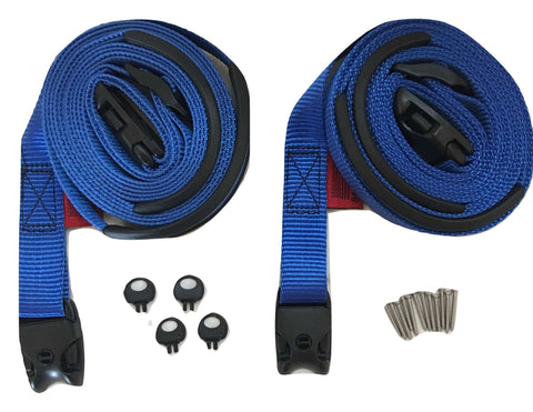 2 pc Wind Strap Kit Hot Tub Secure ACW Loc Spa Hurricane Tie Down - Blue