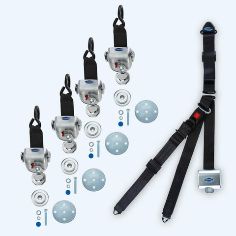 4 QRT-360 Retractors with Slide 'N Click Fittings and Retractable Lap & Shoulder Belt Combo | Q-10008 - wheelchairstrap.com