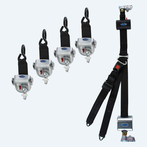 4 QRT-360 Retractors with L-Track Fittings and HR131 Retractable Lap & Shoulder Belt with Retractable L-Track Height Adjuster and 131º Bracket  | Q-10014 - wheelchairstrap.com
