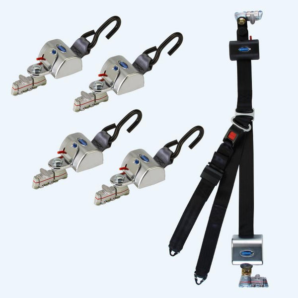 4 QRT Max Retractors with L-Track fittings; and HR131 Retractable Lap & Shoulder Belt with Retractable L-Track Height Adjuster and 131º Bracket | Q-8306-L2 - wheelchairstrap.com