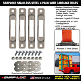 SNAPLOCS STAINLESS 4 PACK WITH CARRIAGE BOLTS - RatchetStrap.com