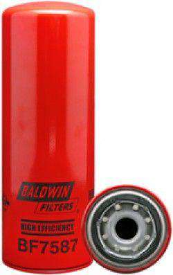 Qty 4 - BF7587 Baldwin High Efficiency Fuel Filter, Spin-On Filter Design - RatchetStrap.com
