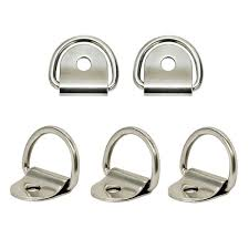 QTY 5 - Marine Boat 316 Stainless Steel D Ring Pad Eye D-Ring 1/8'' Pin Hole - RatchetStrap.com