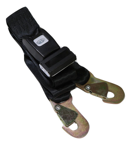 Integrated Tie Back Lap Belt with Push Button Buckle & Snap Hooks, OAL 80""