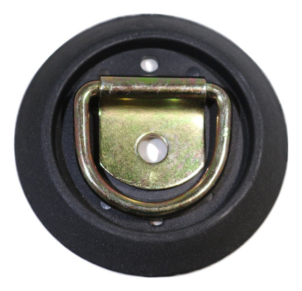 Low Profile, Semi-Recessed Pan Fitting with Black Plastic Trim Collar & D-Ring RatchetStrap.com
