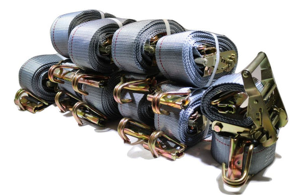 "Qty (10) 2""x16ft Ratchet Strap w/ Spg E & Wire Hk for E & F-Tracks"