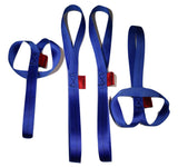 QTY 4 - 1 inch X 18 inch Blue Soft Tie Loops - Made in USA 4,500 lb. Break Strength Webbing - ratchetstrap-com.myshopify.com