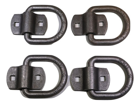 "QTY 4 - 1/2"" Forged D Ring w/ Bolt On Bracket - 4,000 lb. WLL - ratchetstrap-com.myshopify.com"