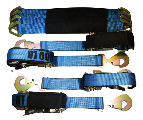 Qty 4 Axle Strap Tie Downs 24 Long & Ratchet Tow Straps Car Haulers Blue Towing